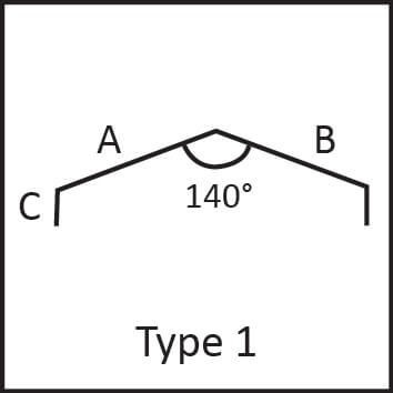 Roof flashing type 1 angular measures diagram