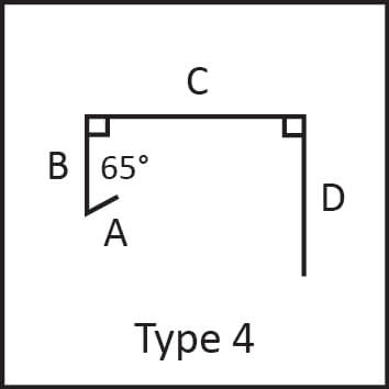 Roof flashing type 4 angular measures diagram