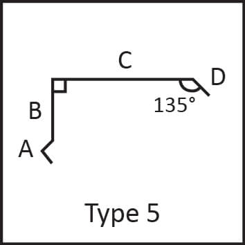 Roof flashing type 5 angular measures diagram