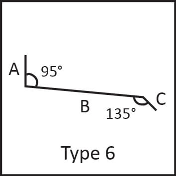Roof flashing type 6 angular measures diagram