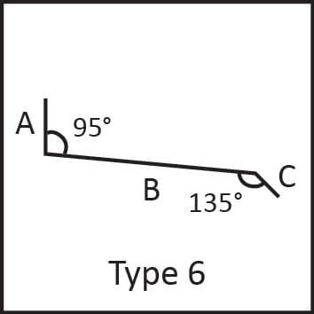 Roof flashing type 6 angular measures diagram