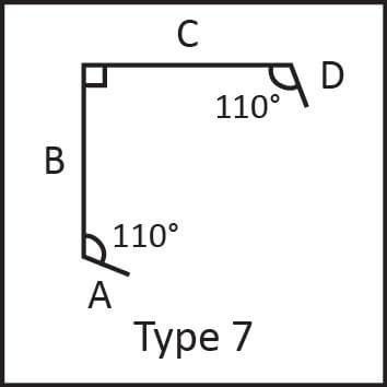Roof flashing type 7 angular measures diagram
