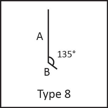 Roof flashing type 8 angular measures diagram