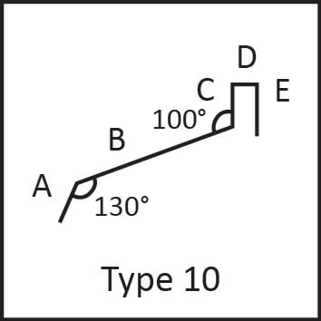 Roof flashing type 10 angular measures diagram