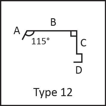Roof flashing type 12 angular measures diagram