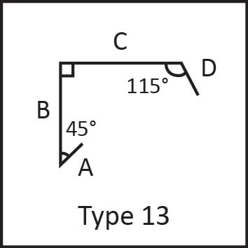Roof flashing type 13 angular measures diagram