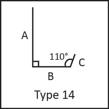 Roof flashing type 14 angular measures diagram
