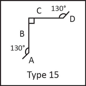 Roof flashing type 15 angular measures diagram