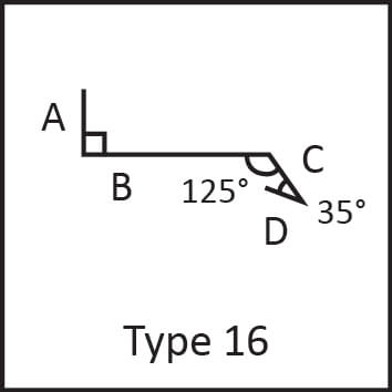 Roof flashing type 16 angular measures diagram