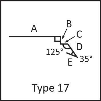 Roof flashing type 17 angular measures diagram