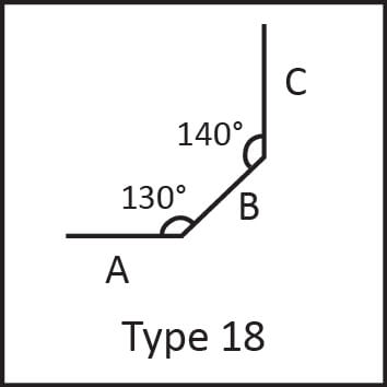 Roof flashing type 18 angular measures diagram