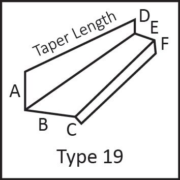 Roof flashing type 19 angular measures diagram