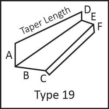 Roof flashing type 19 angular measures diagram