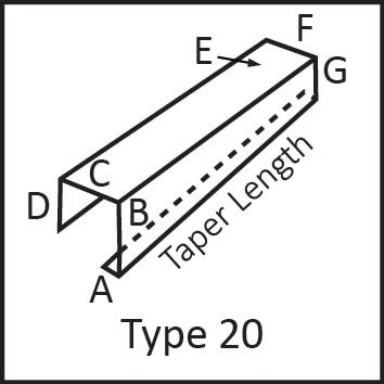 Roof flashing type 20 angular measures diagram
