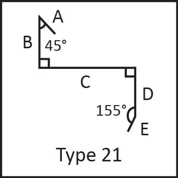 Roof flashing type 21 angular measures diagram