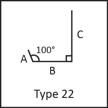 Roof flashing type 22 angular measures diagram