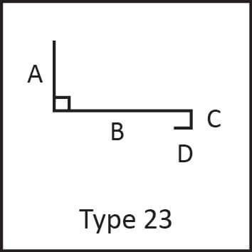 Roof flashing type 23 angular measures diagram