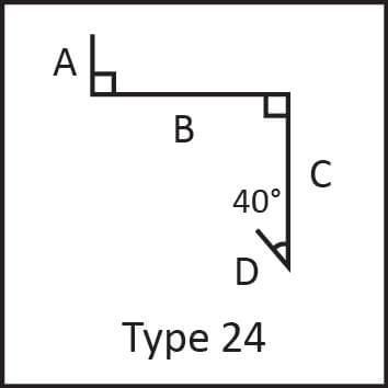 Roof flashing type 24 angular measures diagram
