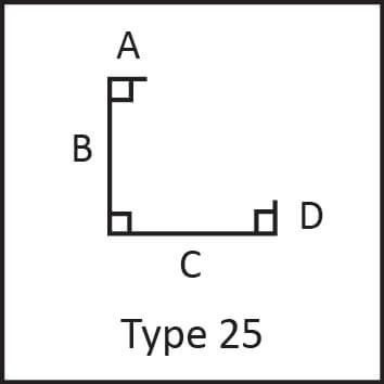 Roof flashing type 25 angular measures diagram