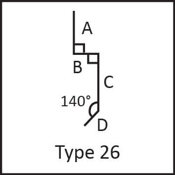 Roof flashing type 26 angular measures diagram
