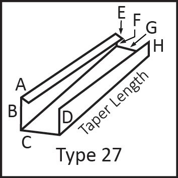Roof flashing type 27 angular measures diagram