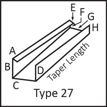Roof flashing type 27 angular measures diagram