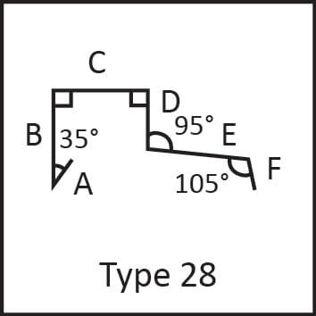 Roof flashing type 28 angular measures diagram