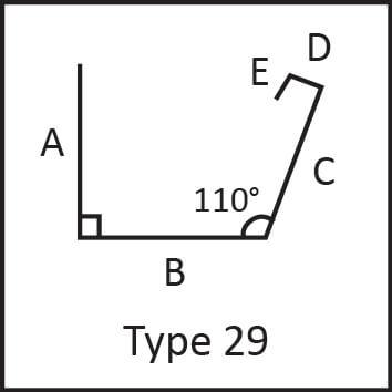 Roof flashing type 29 angular measures diagram