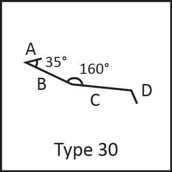 Roof flashing type 30 angular measures diagram