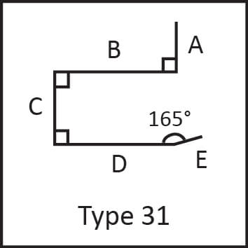 Roof flashing type 31 angular measures diagram