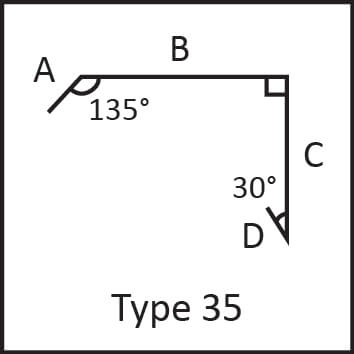 Roof flashing type 35 angular measures diagram