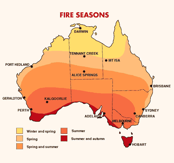 Map of Australia highlighting fire season throughout the country