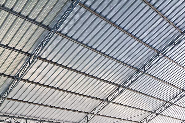 Metal industrial factory roof