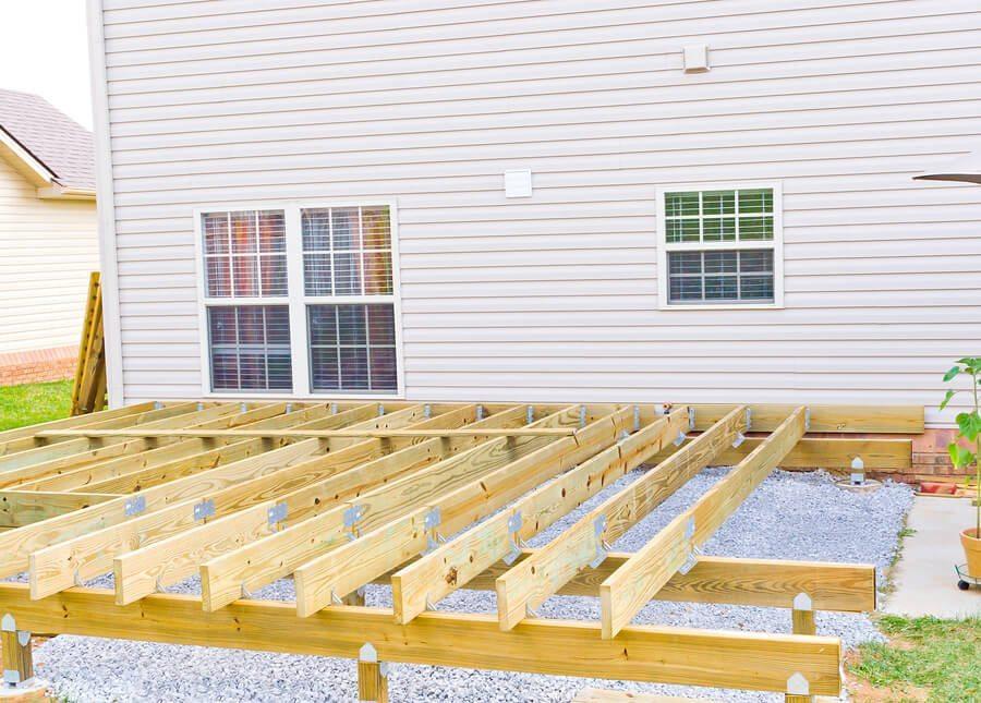 Frame of under construction deck