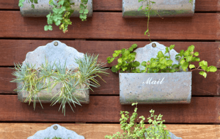 Vertical garden made from sheet metal boxes