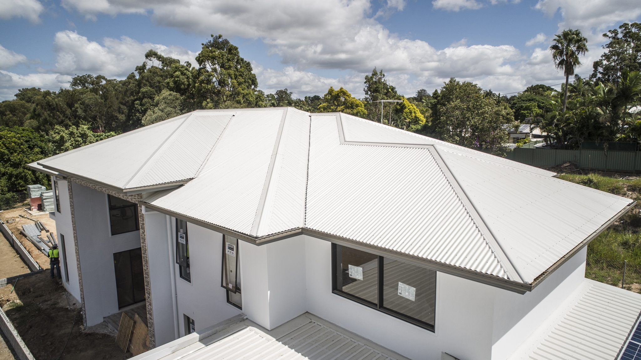 Duplex house under construction with Colorbond® metal roofing