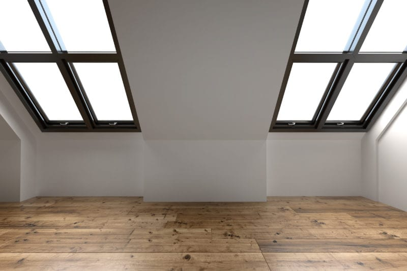 Newly converted attic space interior