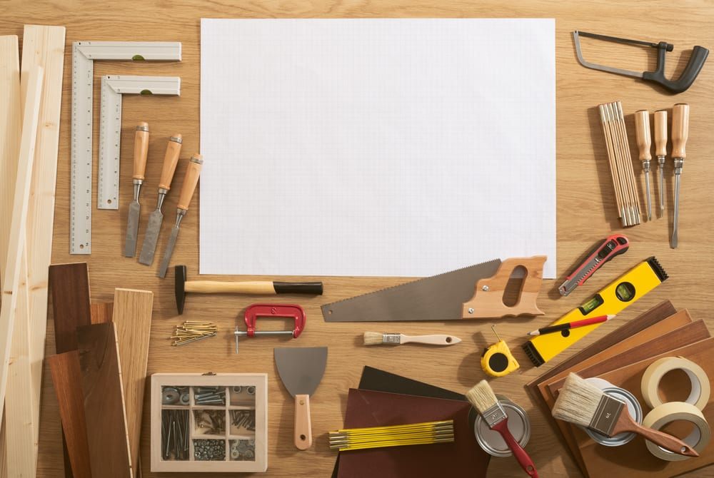 DIY blank project with copy space and construction tools