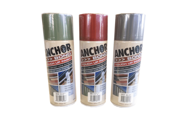 Green, red and silver color touch-up paint bottles